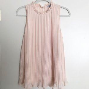 Naked Zebra Blush Pink Pleated Sleeveless Top